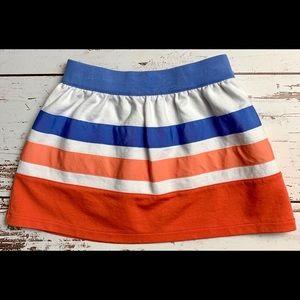 GYMBOREE Blue Coral White Ribbon Striped Skirt 4